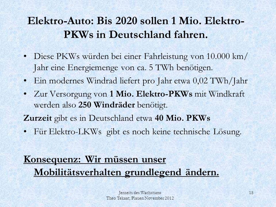 Jenseits des Wachstums Theo Tekaat; Plauen November 2012 18 Elektro-Auto: Bis 2020 sollen 1 Mio. Elektro- PKWs in Deutschland fahren. Diese PKWs würde