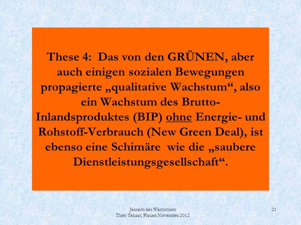 Jenseits des Wachstums Theo Tekaat; Plauen November 2012 21 These 4: Das von den GRÜNEN, aber auch einigen sozialen Bewegungen propagierte qualitative
