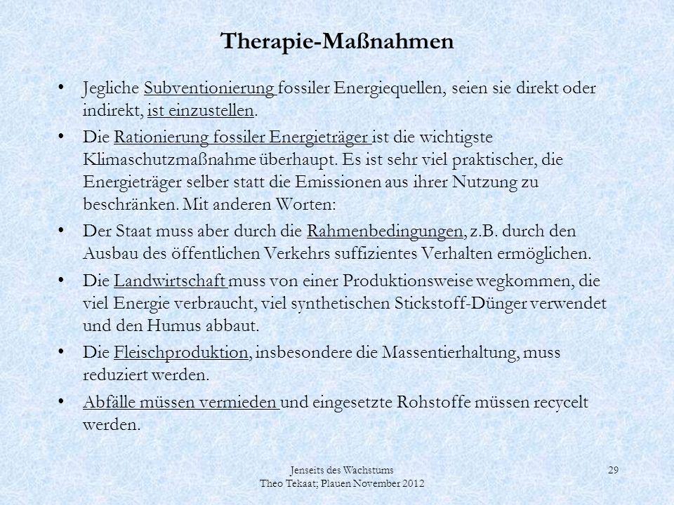 Jenseits des Wachstums Theo Tekaat; Plauen November 2012 29 Therapie-Maßnahmen Jegliche Subventionierung fossiler Energiequellen, seien sie direkt ode