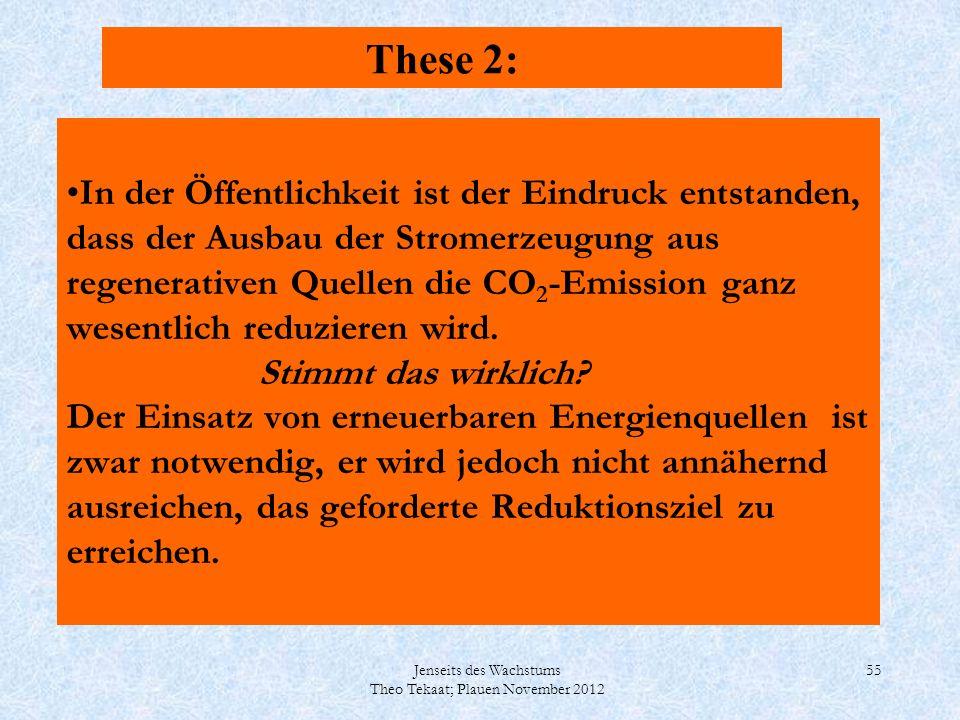 Jenseits des Wachstums Theo Tekaat; Plauen November 2012 55 In der Öffentlichkeit ist der Eindruck entstanden, dass der Ausbau der Stromerzeugung aus