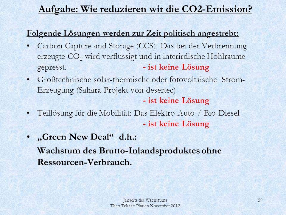 Jenseits des Wachstums Theo Tekaat; Plauen November 2012 59 Aufgabe: Wie reduzieren wir die CO2-Emission? Folgende Lösungen werden zur Zeit politisch