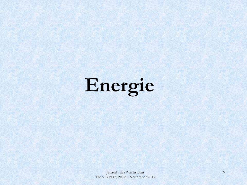 Jenseits des Wachstums Theo Tekaat; Plauen November 2012 67 Energie