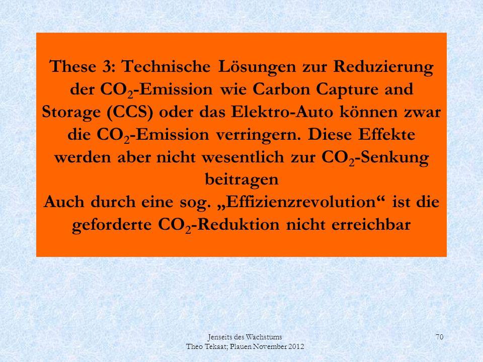 Jenseits des Wachstums Theo Tekaat; Plauen November 2012 70 These 3: Technische Lösungen zur Reduzierung der CO 2 -Emission wie Carbon Capture and Sto