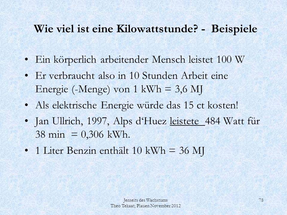 Jenseits des Wachstums Theo Tekaat; Plauen November 2012 78 Wie viel ist eine Kilowattstunde? - Beispiele Ein körperlich arbeitender Mensch leistet 10