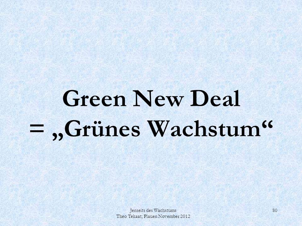 Jenseits des Wachstums Theo Tekaat; Plauen November 2012 80 Green New Deal = Grünes Wachstum