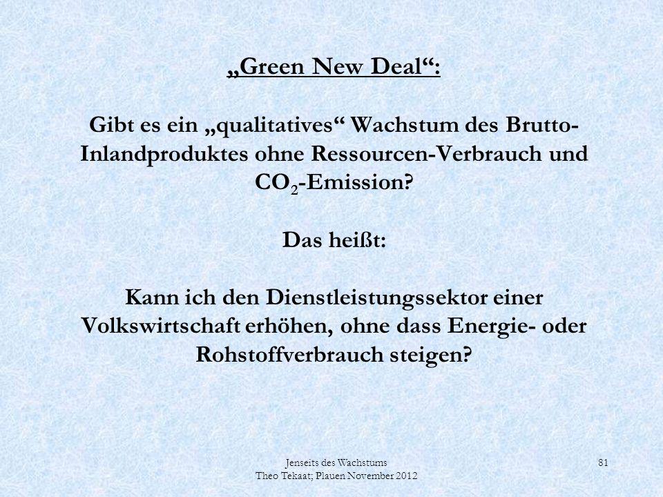 Jenseits des Wachstums Theo Tekaat; Plauen November 2012 81 Green New Deal: Gibt es ein qualitatives Wachstum des Brutto- Inlandproduktes ohne Ressour
