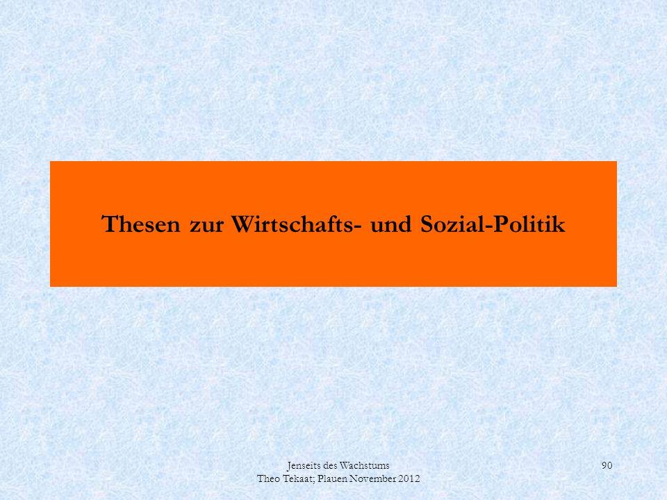 Jenseits des Wachstums Theo Tekaat; Plauen November 2012 90 Thesen zur Wirtschafts- und Sozial-Politik