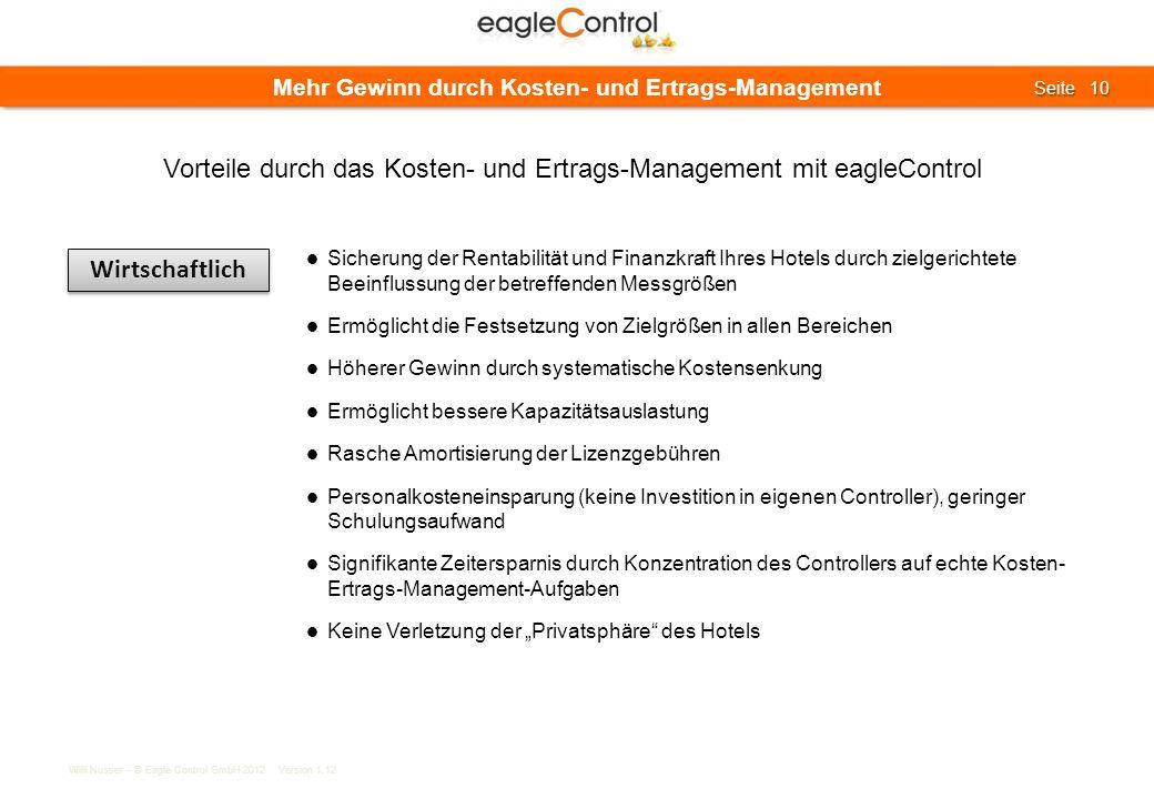 Willi Nusser – © Eagle Control GmbH 2012 Version 1.12 Seite 10 Seite 10 Mehr Gewinn durch Kosten- und Ertrags-Management Wirtschaftlich Sicherung der