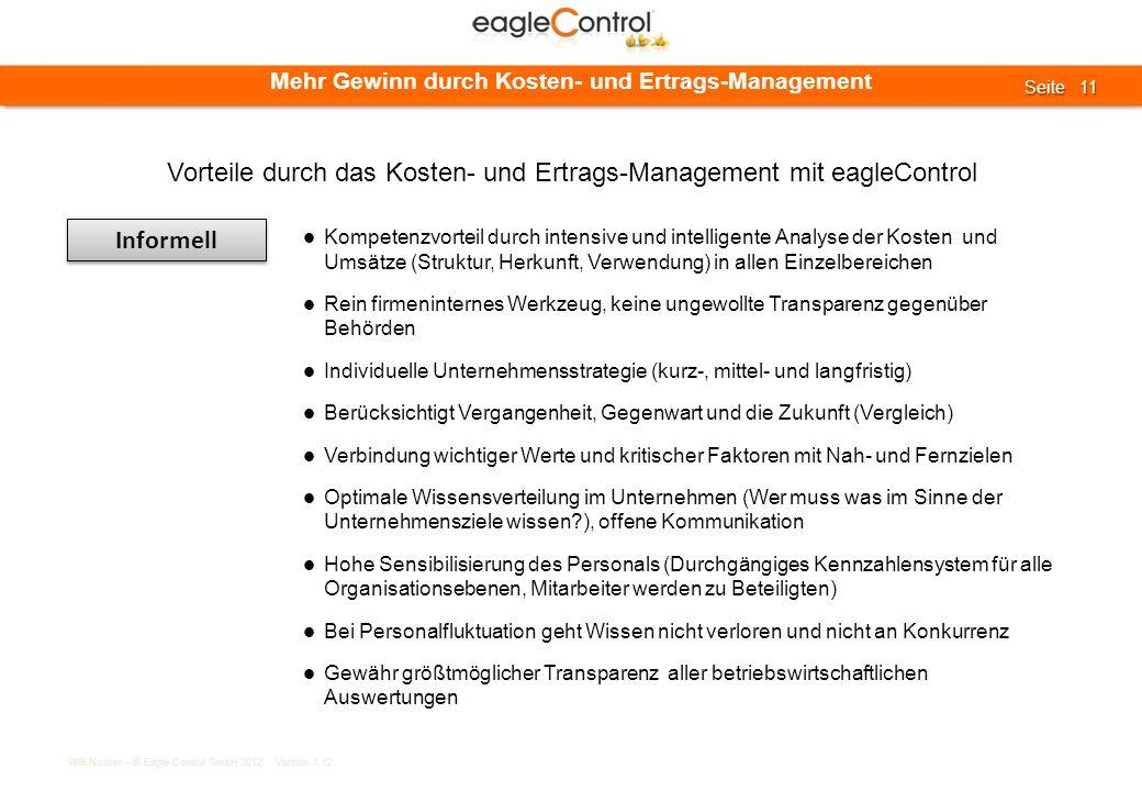 Willi Nusser – © Eagle Control GmbH 2012 Version 1.12 Seite 11 Seite 11 Mehr Gewinn durch Kosten- und Ertrags-Management Informell Kompetenzvorteil du