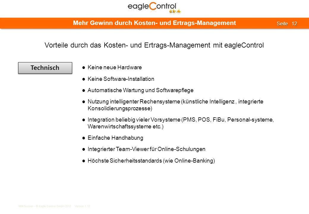 Willi Nusser – © Eagle Control GmbH 2012 Version 1.12 Seite 12 Seite 12 Mehr Gewinn durch Kosten- und Ertrags-Management Technisch Keine neue Hardware