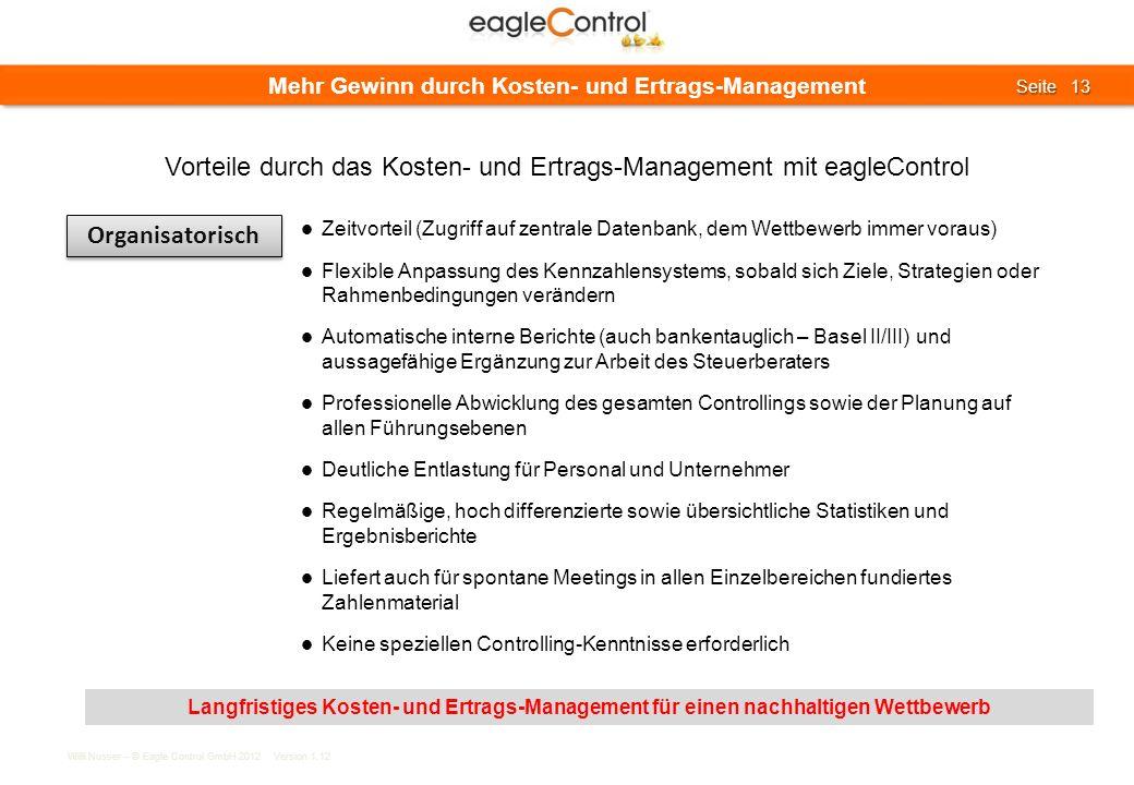 Willi Nusser – © Eagle Control GmbH 2012 Version 1.12 Seite 13 Seite 13 Mehr Gewinn durch Kosten- und Ertrags-Management Organisatorisch Zeitvorteil (