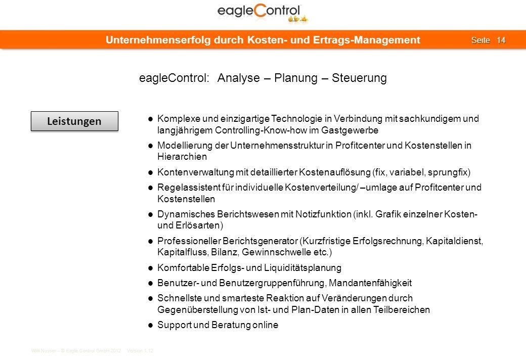 Willi Nusser – © Eagle Control GmbH 2012 Version 1.12 Seite 14 Seite 14 Unternehmenserfolg durch Kosten- und Ertrags-Management Leistungen Komplexe un