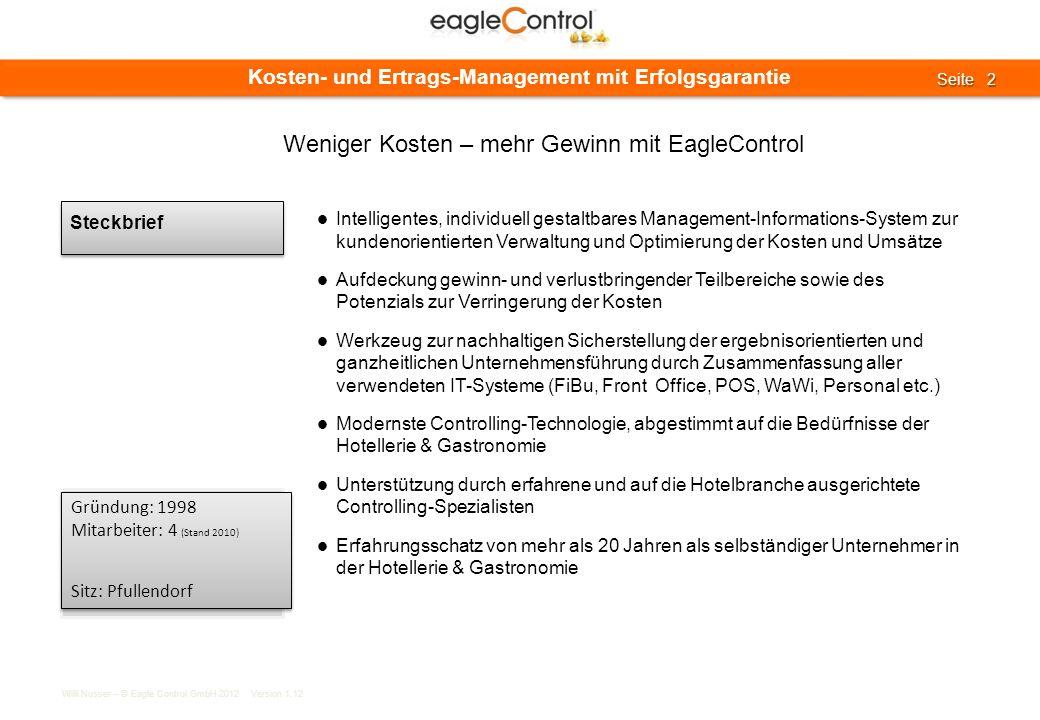 Willi Nusser – © Eagle Control GmbH 2012 Version 1.12 Seite 2 Seite 2 Kosten- und Ertrags-Management mit Erfolgsgarantie Steckbrief Intelligentes, ind