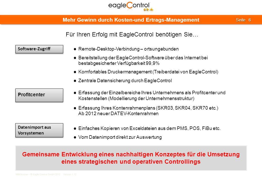 Willi Nusser – © Eagle Control GmbH 2012 Version 1.12 Seite 6 Seite 6 Mehr Gewinn durch Kosten-und Ertrags-Management Software-Zugriff Remote-Desktop-