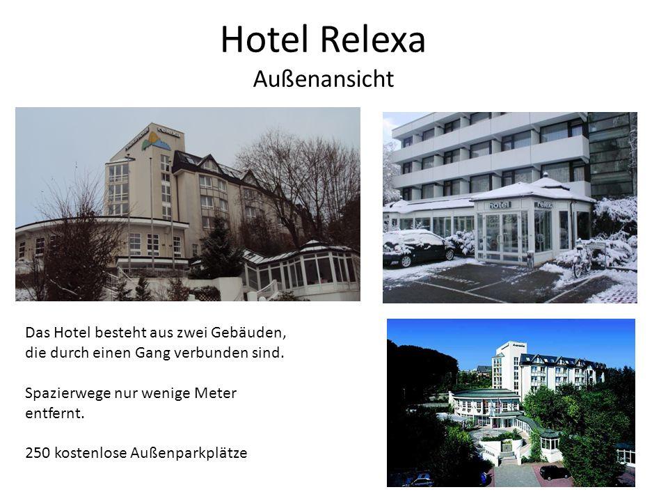 Hotel Relexa Außenansicht Das Hotel besteht aus zwei Gebäuden, die durch einen Gang verbunden sind. Spazierwege nur wenige Meter entfernt. 250 kostenl