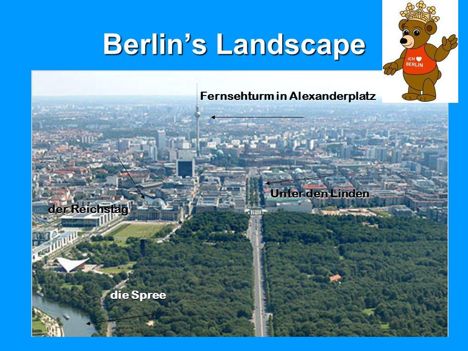 Berlins Landscape Fernsehturm in Alexanderplatz Unter den Linden der Reichstag die Spree