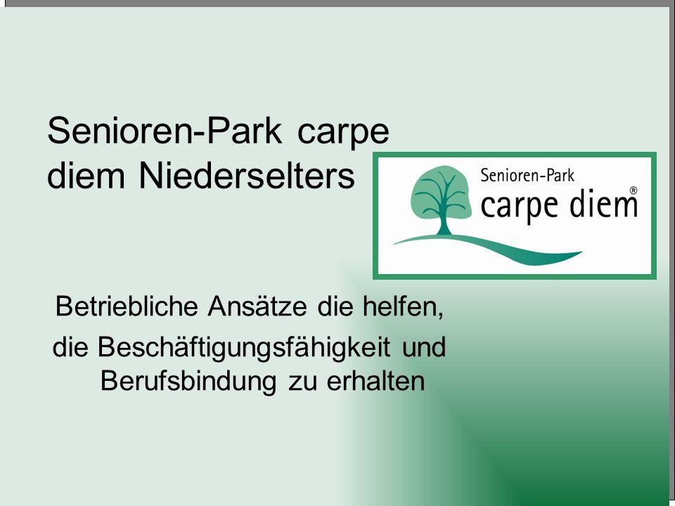 Senioren-Park carpe diem Niederselters Betriebliche Ansätze die helfen, die Beschäftigungsfähigkeit und Berufsbindung zu erhalten