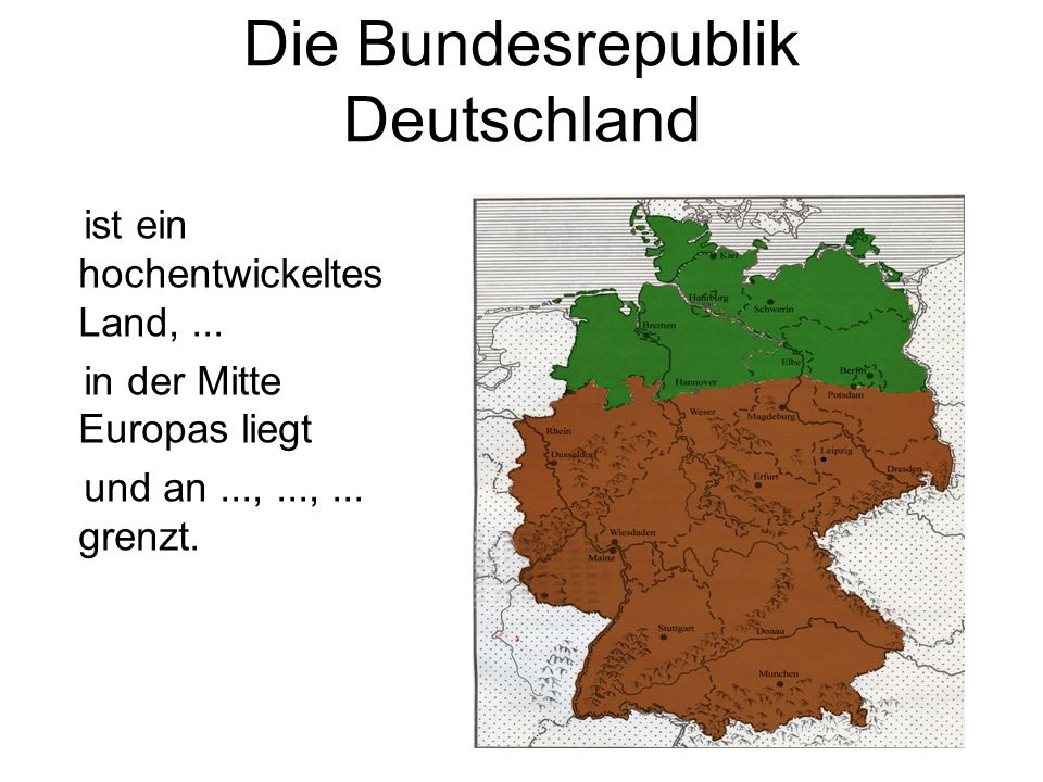 Die Bundesrepublik Deutschland ist ein hochentwickeltes Land,...