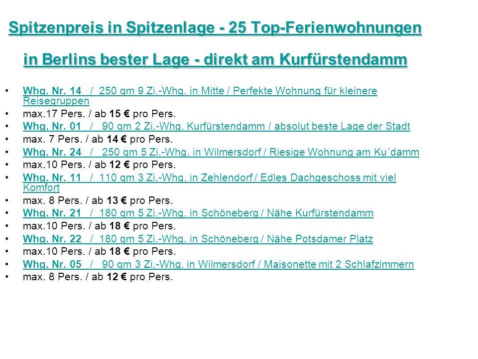 Spitzenpreis in Spitzenlage - 25 Top-Ferienwohnungen in Berlins bester Lage - direkt am Kurfürstendamm Spitzenpreis in Spitzenlage - 25 Top-Ferienwohnungen in Berlins bester Lage - direkt am Kurfürstendamm Whg.