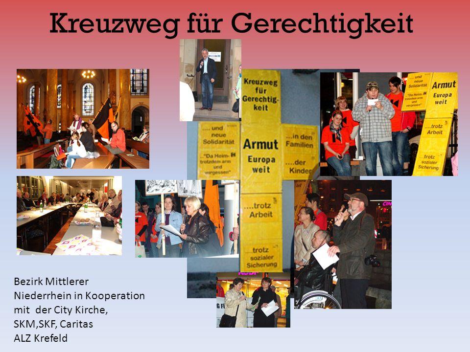Kreuzweg für Gerechtigkeit Bezirk Mittlerer Niederrhein in Kooperation mit der City Kirche, SKM,SKF, Caritas ALZ Krefeld