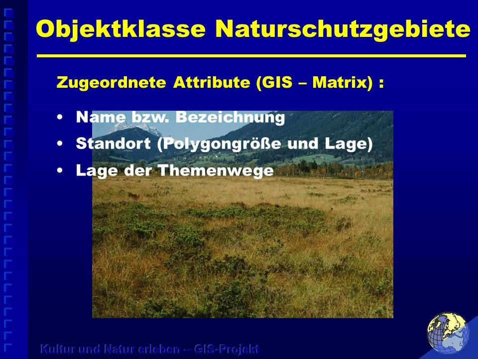 Objektklasse Naturschutzgebiete Zugeordnete Attribute (GIS – Matrix) : Name bzw. Bezeichnung Standort (Polygongröße und Lage) Lage der Themenwege