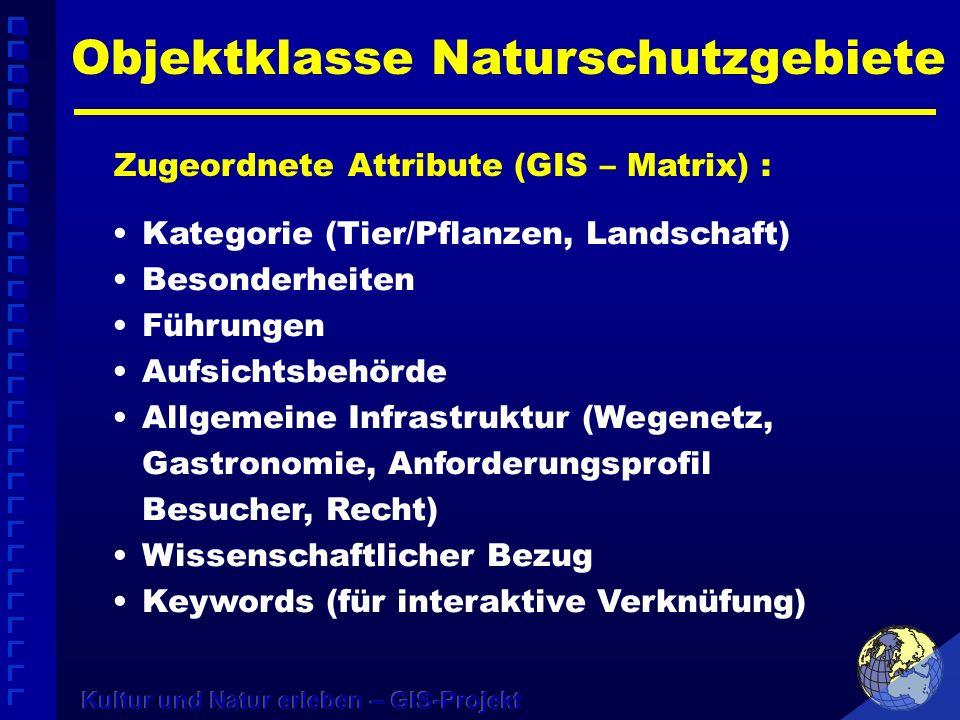 Objektklasse Naturschutzgebiete Zugeordnete Attribute (GIS – Matrix) : Kategorie (Tier/Pflanzen, Landschaft) Besonderheiten Führungen Aufsichtsbehörde