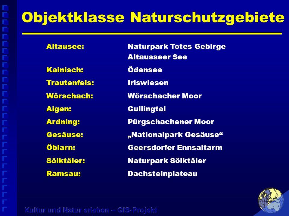 Altausee:Naturpark Totes Gebirge Altausseer See Kainisch:Ödensee Trautenfels:Iriswiesen Wörschach:Wörschacher Moor Aigen:Gullingtal Ardning:Pürgschach