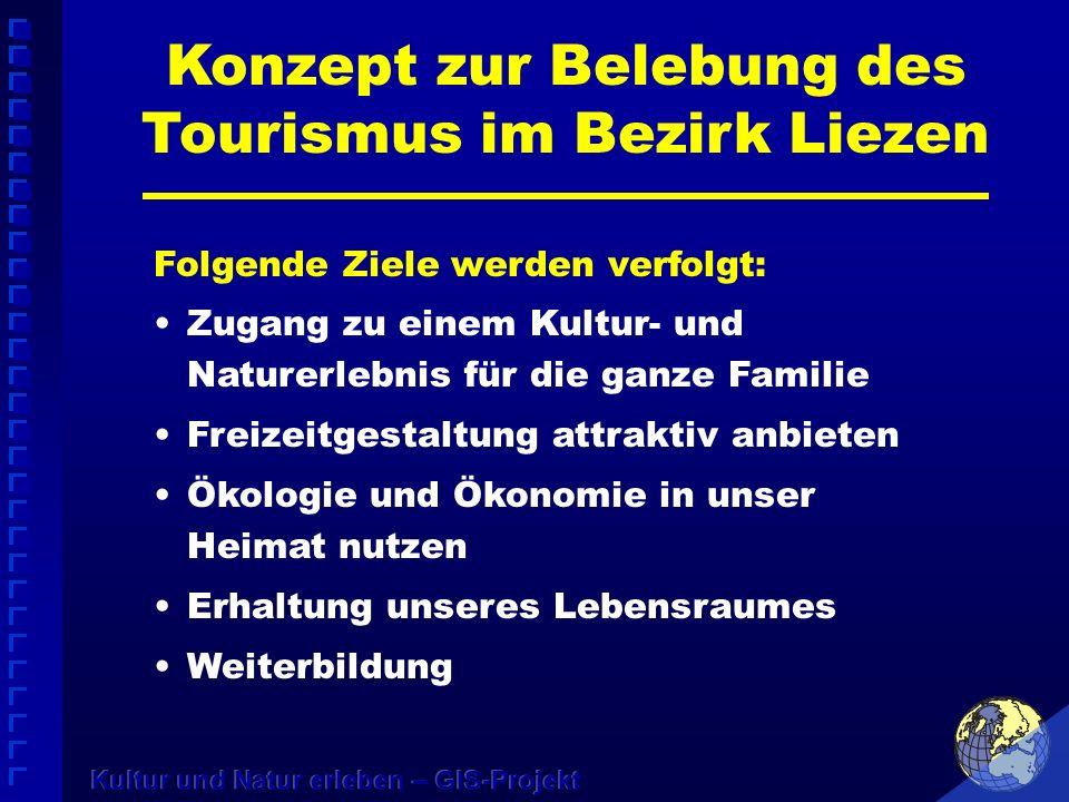 Konzept zur Belebung des Tourismus im Bezirk Liezen Folgende Ziele werden verfolgt: Zugang zu einem Kultur- und Naturerlebnis für die ganze Familie Fr