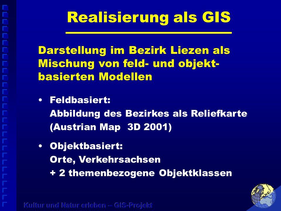Realisierung als GIS Feldbasiert: Abbildung des Bezirkes als Reliefkarte (Austrian Map 3D 2001) Objektbasiert: Orte, Verkehrsachsen + 2 themenbezogene Objektklassen Darstellung im Bezirk Liezen als Mischung von feld- und objekt- basierten Modellen