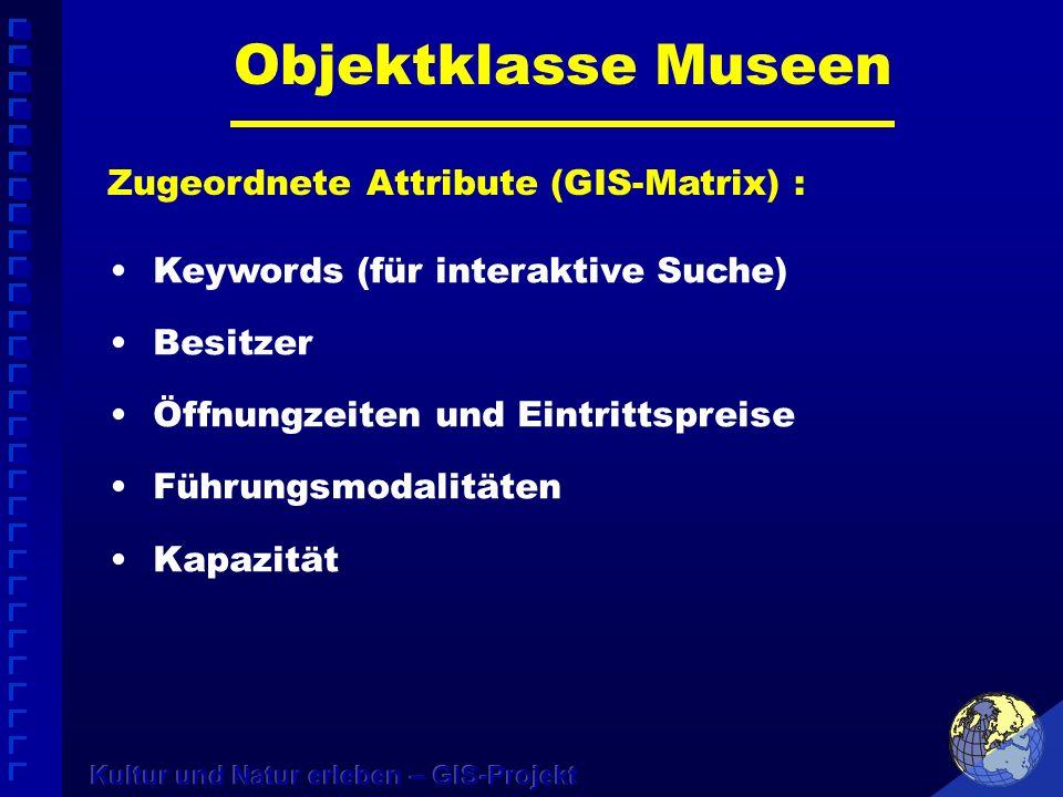 Objektklasse Museen Zugeordnete Attribute (GIS-Matrix) : Keywords (für interaktive Suche) Besitzer Öffnungzeiten und Eintrittspreise Führungsmodalitäten Kapazität