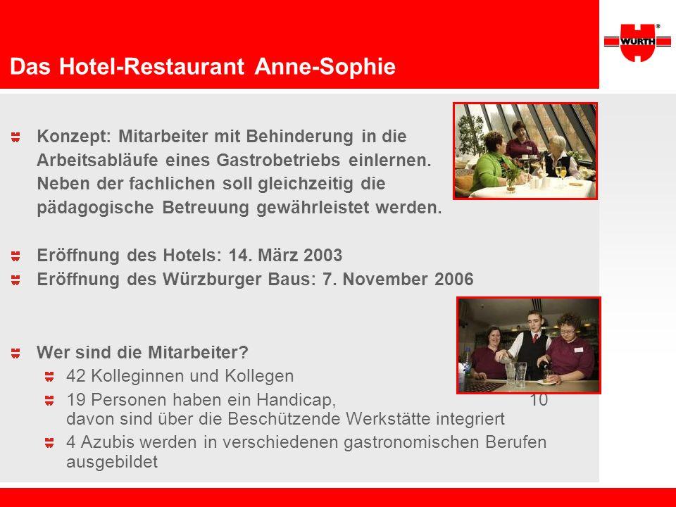 Das Hotel-Restaurant Anne-Sophie Konzept: Mitarbeiter mit Behinderung in die Arbeitsabläufe eines Gastrobetriebs einlernen. Neben der fachlichen soll
