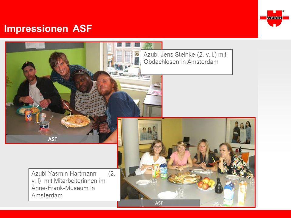 Impressionen ASF Azubi Jens Steinke (2. v. l.) mit Obdachlosen in Amsterdam Azubi Yasmin Hartmann (2. v. l) mit Mitarbeiterinnen im Anne-Frank-Museum