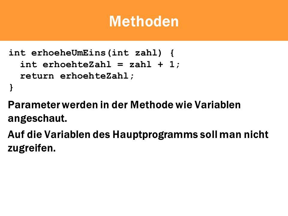 Methoden Parameter werden in der Methode wie Variablen angeschaut.