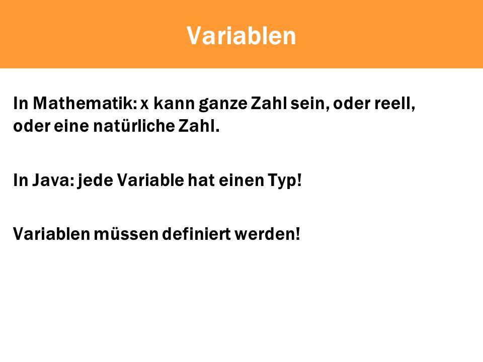 Variablen In Mathematik: x kann ganze Zahl sein, oder reell, oder eine natürliche Zahl.