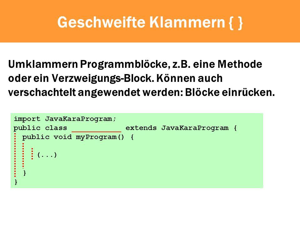 Einrücken import JavaKaraProgram; public class Slalom extends JavaKaraProgram { void eat() { if (kara.onLeaf()) { kara.removeLeaf(); } } void eat_right() { eat(); kara.move(); kara.turnRight(); } void eat_left() { eat(); kara.move(); kara.turnLeft(); } public void myProgram() { while (!kara.treeFront()) { eat_right(); eat_left(); } }