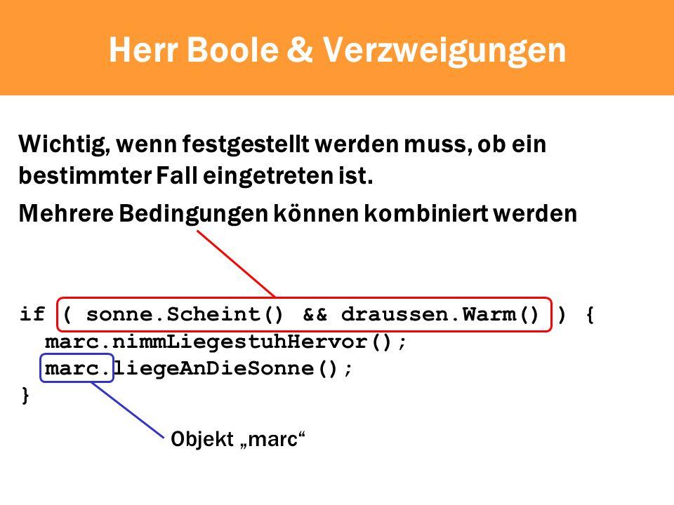 Herr Boole & Verzweigungen Wichtig, wenn festgestellt werden muss, ob ein bestimmter Fall eingetreten ist.