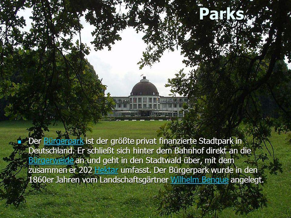 Parks Parks Der Bürgerpark ist der größte privat finanzierte Stadtpark in Deutschland.
