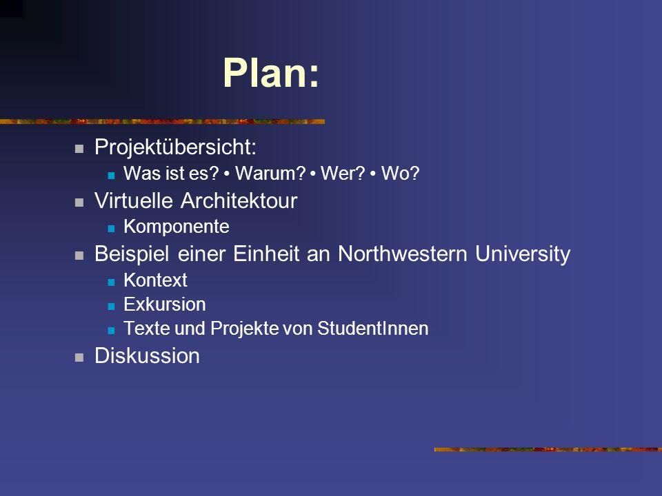 Plan: Projektübersicht: Was ist es? Warum? Wer? Wo? Virtuelle Architektour Komponente Beispiel einer Einheit an Northwestern University Kontext Exkurs