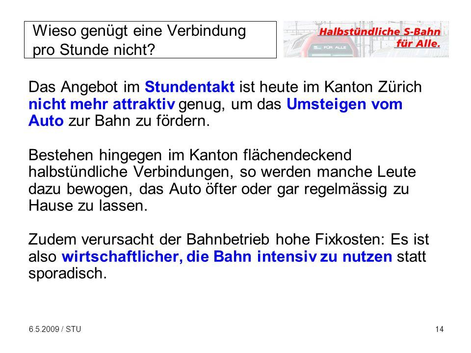 6.5.2009 / STU14 Wieso genügt eine Verbindung pro Stunde nicht? Das Angebot im Stundentakt ist heute im Kanton Zürich nicht mehr attraktiv genug, um d