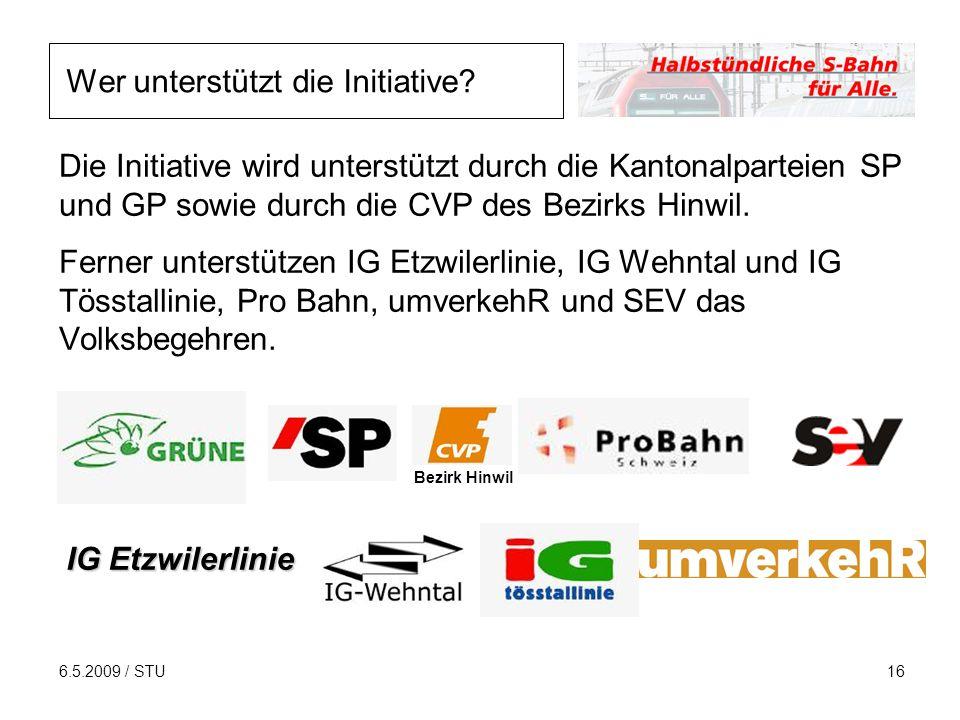 6.5.2009 / STU16 Die Initiative wird unterstützt durch die Kantonalparteien SP und GP sowie durch die CVP des Bezirks Hinwil. Ferner unterstützen IG E