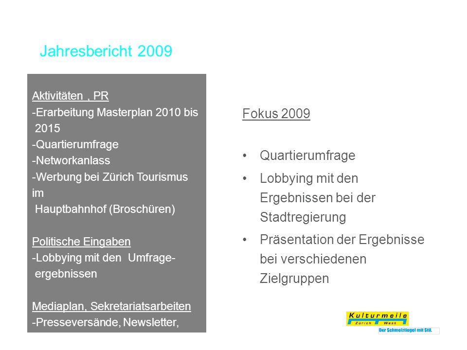Jahresbericht 2009 Fokus 2009 Quartierumfrage Lobbying mit den Ergebnissen bei der Stadtregierung Präsentation der Ergebnisse bei verschiedenen Zielgr