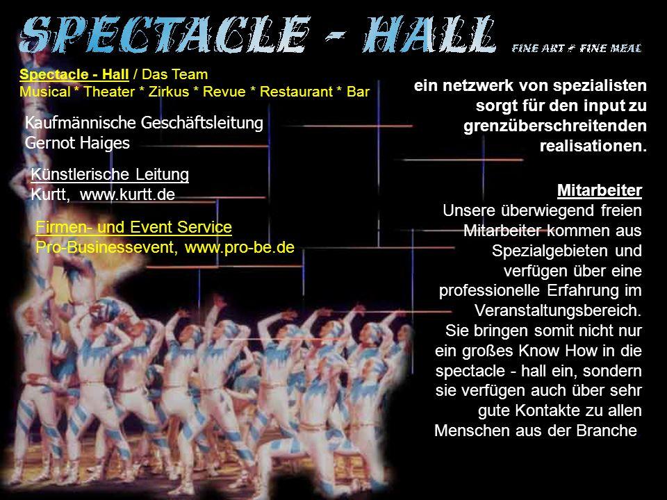 Spectacle - Hall / Das Team Musical * Theater * Zirkus * Revue * Restaurant * Bar ein netzwerk von spezialisten sorgt für den input zu grenzüberschreitenden realisationen.