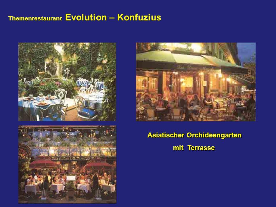 Asiatischer Orchideengarten Asiatischer Orchideengarten mit Terrasse Themenrestaurant Evolution – Konfuzius