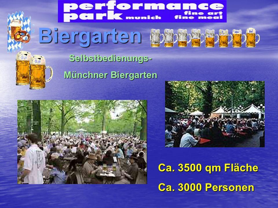 Biergarten Ca. 3500 qm Fläche Ca. 3000 Personen Selbstbedienungs- Münchner Biergarten