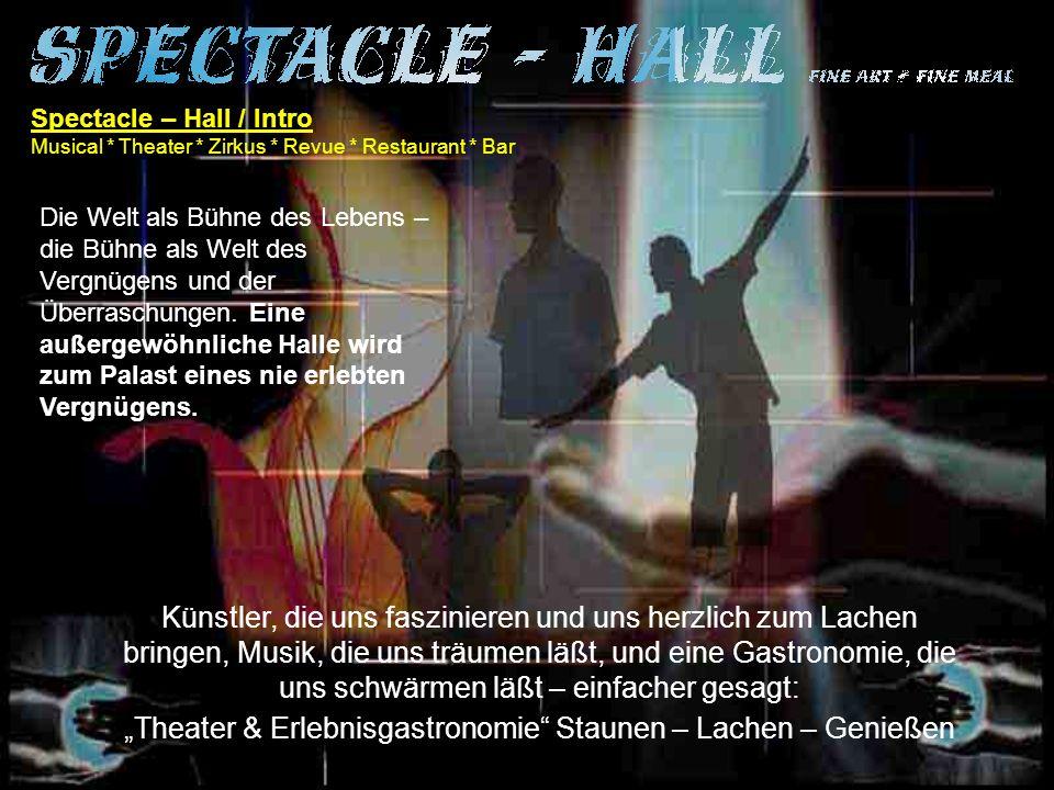 Spectacle - Hall / Die Einrichtung Musical * Theater * Zirkus * Revue * Restaurant * Bar Eine luxuriös ausgestattete Halle die den höchsten Ansprüchen genügt.