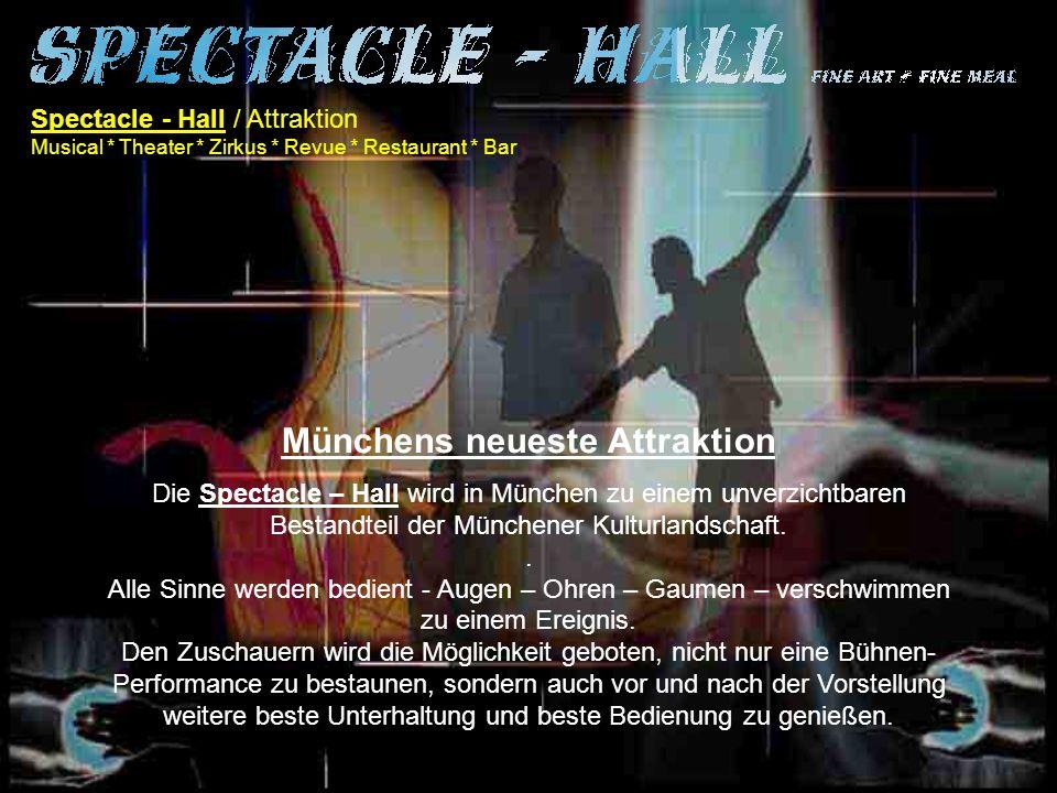 Spectacle - Hall / Der Wettbewerb Musical * Theater * Zirkus * Revue * Restaurant * Bar Spectacle - hall wird neue Wege beschreiben, Erfahrungen nutzen, Innovationen und Neuerungen im Veranstaltungsbereich vorantreiben.