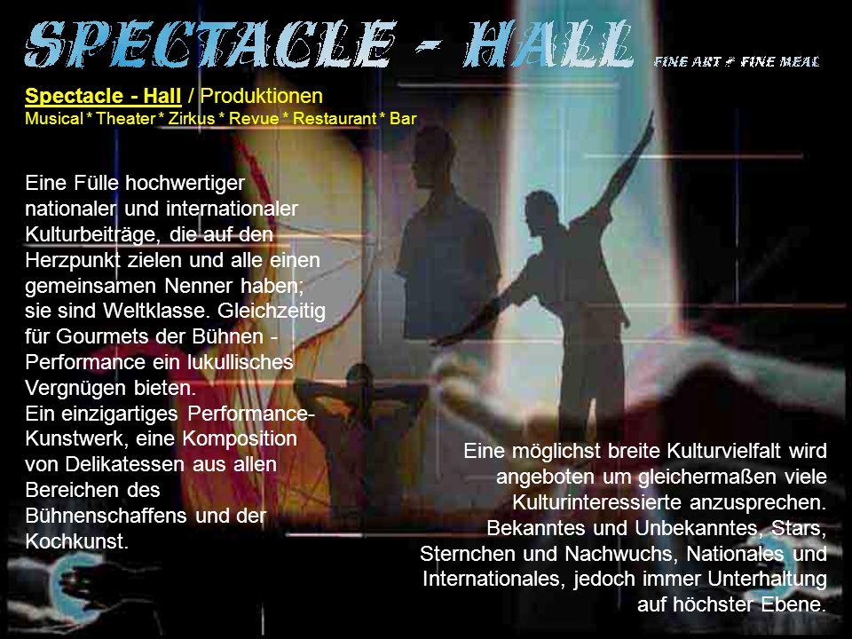 Spectacle - Hall / Produktionen Musical * Theater * Zirkus * Revue * Restaurant * Bar Eine Fülle hochwertiger nationaler und internationaler Kulturbeiträge, die auf den Herzpunkt zielen und alle einen gemeinsamen Nenner haben; sie sind Weltklasse.