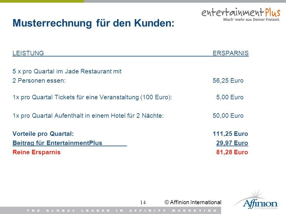 © Affinion International14 Musterrechnung für den Kunden: LEISTUNGERSPARNIS 5 x pro Quartal im Jade Restaurant mit 2 Personen essen:56,25 Euro 1x pro