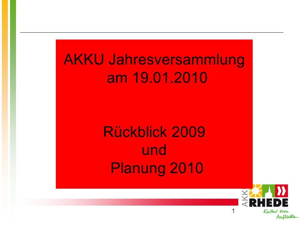 1 AKKU Jahresversammlung am 19.01.2010 Rückblick 2009 und Planung 2010