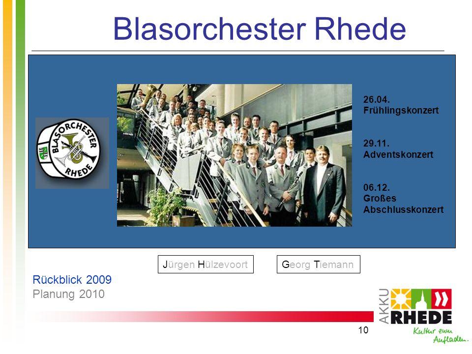10 Blasorchester Rhede 26.04. Frühlingskonzert 29.11. Adventskonzert 06.12. Großes Abschlusskonzert Jürgen HülzevoortGeorg Tiemann Rückblick 2009 Plan